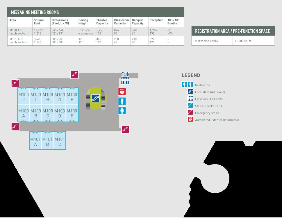 Minneapolis Convention Center Floor Plan: Meeting Room M100